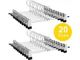 Tweedekans - Antislip kledinghangers - verstelbare knijpers - roterende haak - 20 stuks - 31 cm - zilvergrijs
