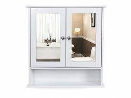 Badkamerkast - 2 deuren met spiegel - 56x58x13 cm - wit