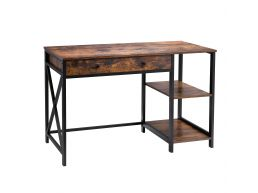 Bureau - 2 legplanken 1 lade - 120x80x60 cm - vintage bruin