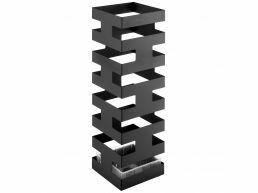 Metalen design paraplubak - vierkant - met waterbakje - zwart