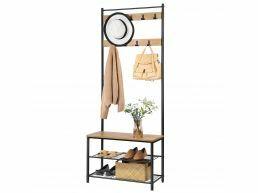 Multifunctioneel garderoberek - 9 haken - 70x175x32 cm - honing bruin