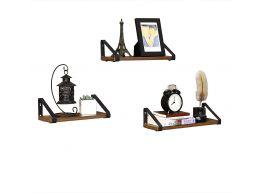 Set van 3 wandplanken - industriële look - 40x12x11 cm - vintage bruin