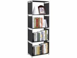 Tweedekans - Boekenkast - 4 vakken - 50x147x30 cm - zwart
