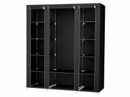 Kleerkast - opvouwbaar - 150x175x45 cm - zwart