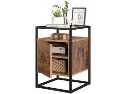 Nachtkastje uit hout en gehard glas, met kast, voor slaapkamer, woonkamer, gang, industriële stijl - Rustiek bruin