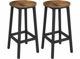Set van 2 Barkrukken, keukenstoelen met stabiel stalen frame, hoogte 65 cm, rond, industriële stijl, vintage bruin-zwart