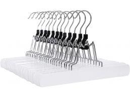 Antislip kledinghangers - roterende haak - 12 stuks - massief hout - wit