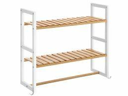 Hangend badkamerrek - 2 legplanken 1 stang - 60.5x54x20 cm - bamboe