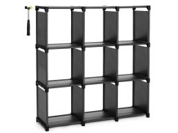 Boekenkast - 9 vierkante vakken - stof -  105x105x30 cm - zwart