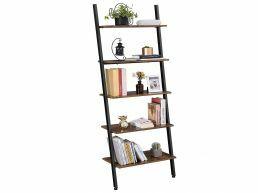 Boekenkast - ladder vorm - 5 houten planken - 64x186x34 cm - vintage bruin