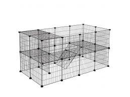 Tweedekans - Metalen kooi - 2 niveaus - voor cavia, konijn, puppy - 143x71x73 cm - zwart
