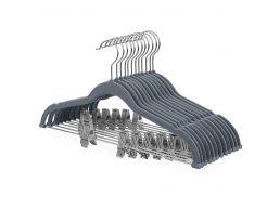 Antislip kledinghangers - verstelbare knijpers - roterende haak - 12 stuks - grijs