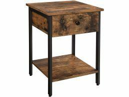 Bijzettafel - industriële look - met lade en plank - vintage bruin