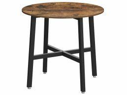 Kleine eettafel - rond - industriële look - 80x75 cm - vintage bruin