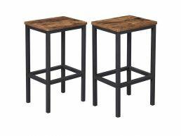 Set van 2 barkrukken - met voetsteun - vintage bruin