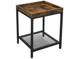 Bijzettafel - industriële look - met rasterplank - 40x55x40 cm - vintage bruin
