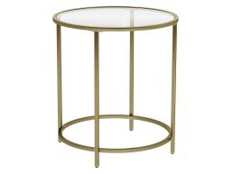 Ronde bijzettafel - gehard glas - 50x55x50 cm - goud
