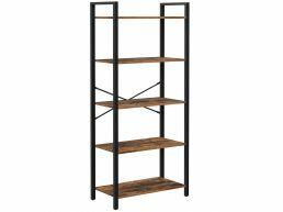 Boekenkast - industriële look - 5 legplanken - 66x153x30 cm - vintage bruin