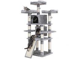 Grote krabpaal - voor meerdere katten - stabiel voor volwassen kat - 60x172x55 cm - lichtgrijs