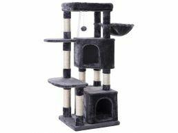 Krabpaal - met twee huisjes en speeltjes - voor meerdere katten - 49x120x45 cm - donkergrijs