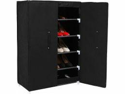 Schoenenkast - 2 deuren - 61x89x28 cm - zwart