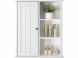 Hangend medicijnkastje - 1 deur 3 vakken - 60x71x18 cm - wit