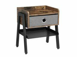 Nachtkastje - industriële look - met lade - 46x52.5x25.5 cm - vintage bruin