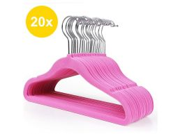 Antislip kledinghangers - voor kinderen - plooibaar - roterende haak - 20 stuks - roze