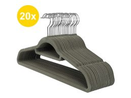 Antislip kledinghangers - plooibaar - roterende haak - 20 stuks - grijs