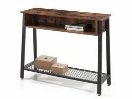 Hoge consoletafel - vintage - met opbergvak - 100x80x35 cm - vintage bruin
