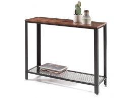 Hoge consoletafel - industriële look - 101,5x80x35 cm - vintage bruin