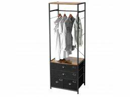 Open kleerkast - met stoffen lades - 63x180x45 cm - vintage bruin