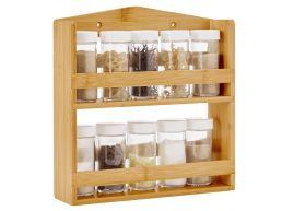 Kruidenrek - ophangbaar - met 10 glazen kruidenpotjes - bamboe