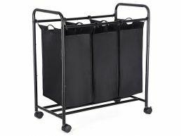 Tweedekans - Mobiele wasmand - 3 vakken van elk 44 liter - 77 x 41 x 81.5 cm - zwart