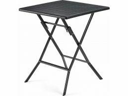 Vierkant tafeltje - voor buiten - houten look - 62x62x73 cm - zwart