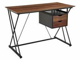 Bureau - metalen frame - met 2 lades - 110x76x55 cm - vintage bruin