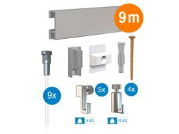 Artiteq - ophangsysteem - 9 m - click rail - zilvergrijs