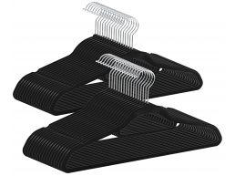 Antislip kledinghangers - plooibaar - roterende haak - 50 stuks - zwart