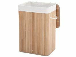 Wasmand met deksel - katoenen zak - 72 liter - 40x60x30 cm - bamboe