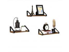 Set van 3 wandplanken - industriële look - 40x12x11 cm - zwart/bruin