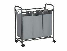 Mobiele wasmand - 3 vakken van elk 44 liter - 77x41x81.5 cm - grijs