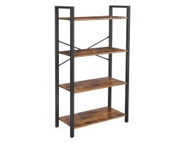 Boekenkast - industriële look - 4 legplanken - 66x120x30 cm - vintage bruin