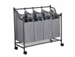 Mobiele wassorteerder - 4 vakken van elk 35 liter - 81x88x39 cm - grijs