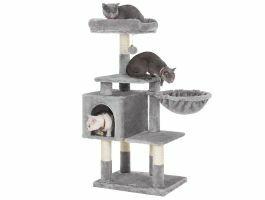 Krabpaal - multilevel - met huisje en speeltje - 50x110x40 cm - grijs