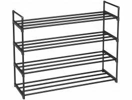 Schoenenrek - 4 niveaus - metaal - 92x73x30 cm - zwart