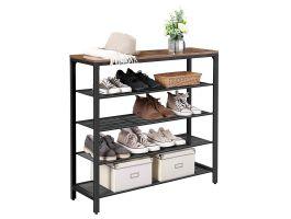 Schoenenrek - industriële look - 100x93x30 cm - bruin/zwart