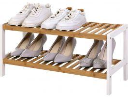 Schoenenrek - 2 niveaus - tot 8 paar schoenen - 70x33x26 cm - bamboe