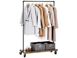 Mobiel kledingrek - rustiek heavy-duty - 1 rail - industrieel design - zwart/bruin