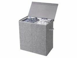 Wasmand - opvouwbaar - 2 vakken - 142 liter - 60x66x36 cm - grijs