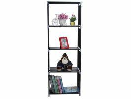 Boekenkast - 4 vakken - 50x147x30 cm - zwart